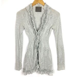 Anthropologie Guinevere Gray Curly Top Cardigan